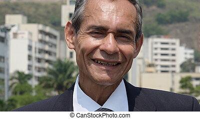 sonriente, hombre más viejo negocio