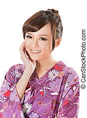 sonriente, japonés, belleza, en, tradicional, ropa