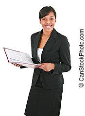 sonriente, joven, americano africano, mujer de negocios, aislado