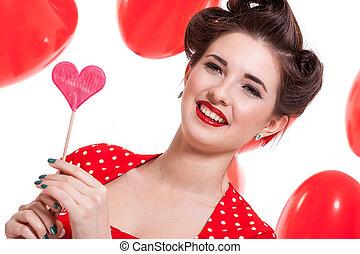 sonriente, joven, atractivo, niña, mujer, con, labios rojos,...