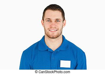 sonriente, joven, ayudante ventas