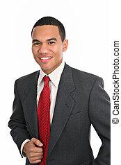 sonriente, joven, macho afroamericano, retrato