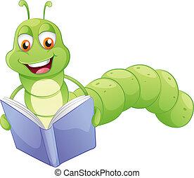 sonriente, lectura, gusano