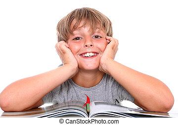 sonriente, libro, colegial