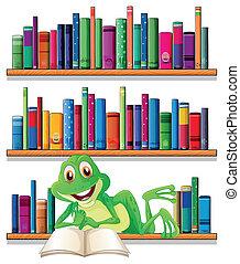 sonriente, libro de lectura, rana