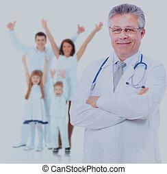 sonriente, médico, doctor., aislado, encima, blanco, fondo.