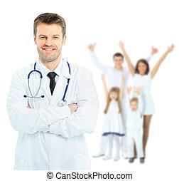 sonriente, médico, doctor., aislado, encima, fondo blanco