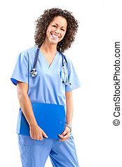 sonriente, médico, enfermera