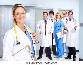 sonriente, médico, gente