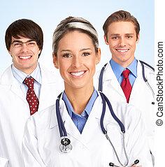 sonriente, médico médico, woman.