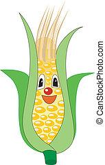 sonriente, maíz de oreja