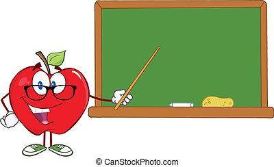 sonriente, manzana, profesor, carácter