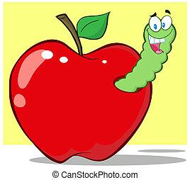 sonriente, manzana, rojo, gusano