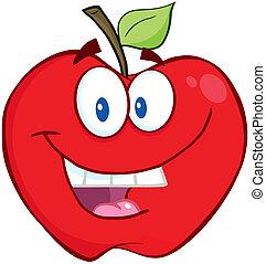 sonriente, manzana, rojo