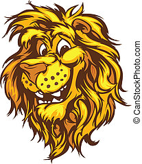 sonriente, mascota, vector, caricatura, león