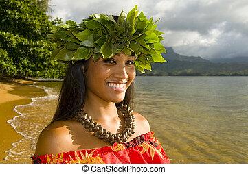 sonriente, muchacha de hula