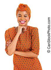 sonriente, mujer africana