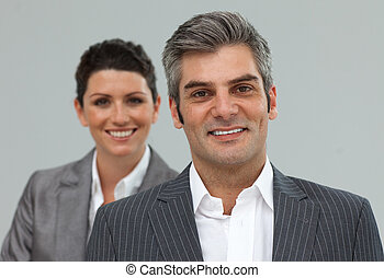 sonriente, negocio se asocia, consecutivo