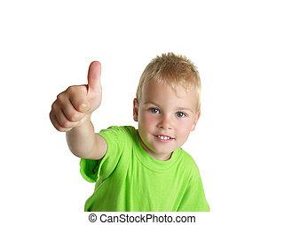 sonriente, niño, exposiciones, ??, gesto, aislado, blanco, plano de fondo