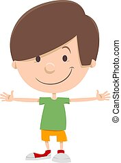 sonriente, niño, niño, caricatura, carácter