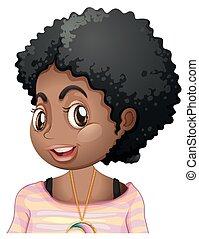 sonriente, norteamericano, niña, africano