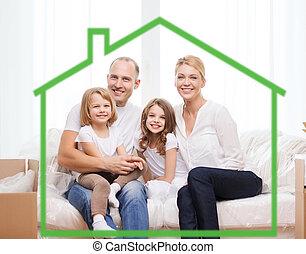 sonriente, padres, y, dos, niñas, en, nuevo hogar
