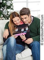 sonriente, pareja, el mirar, regalo de navidad
