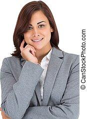 sonriente, pensativo, mujer de negocios