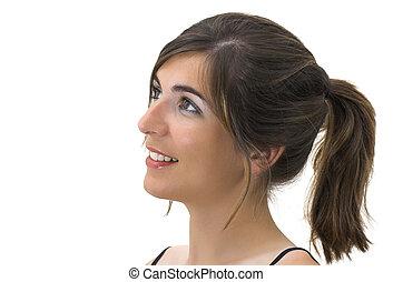 sonriente, perfil