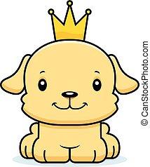 sonriente, perrito, caricatura, príncipe