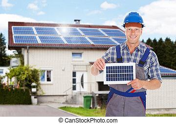 sonriente, reparador, tenencia, panel solar
