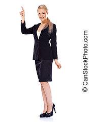sonriente, rubio, mujer de negocios, el señalar en, espacio de copia