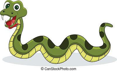 sonriente, serpiente, caricatura