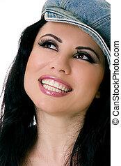 sonriente, sombrero, tela vaquera, hembra