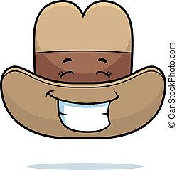 sonriente, sombrero, vaquero