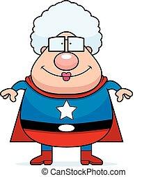 sonriente, superhero, abuelita