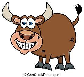 sonriente, toro