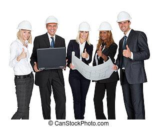 sonriente, trabajadores construcción, con, plan de edificio