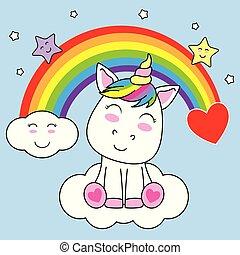 sonriente, unicornio, nube, sentado