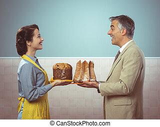 sonriente, vendimia, pareja, con, pasteles