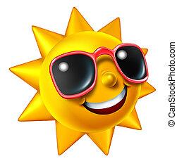 sonriente, verano, sol, carácter