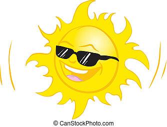 sonriente, verano, sol