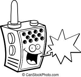 sonriente, walkie-talkie