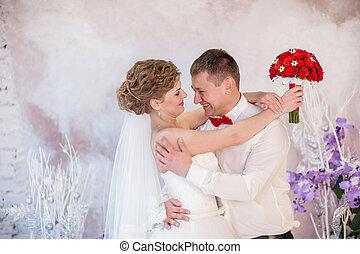 sonrisa, boda, novia, novio