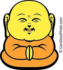 sonrisa, budista, carácter, caricatura, feliz