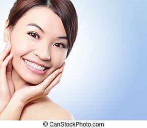 sonrisa, cara, de, mujer, con, salud, dientes