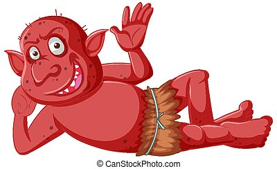 sonrisa, caricatura, gnomo, carácter, acostado, duende, rojo...