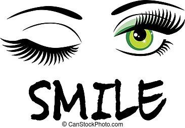 sonrisa, con, guiño