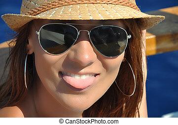 sonrisa, con, lengua