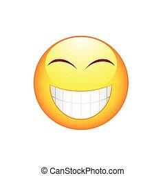 sonrisa, emoticon, con, dientes grandes